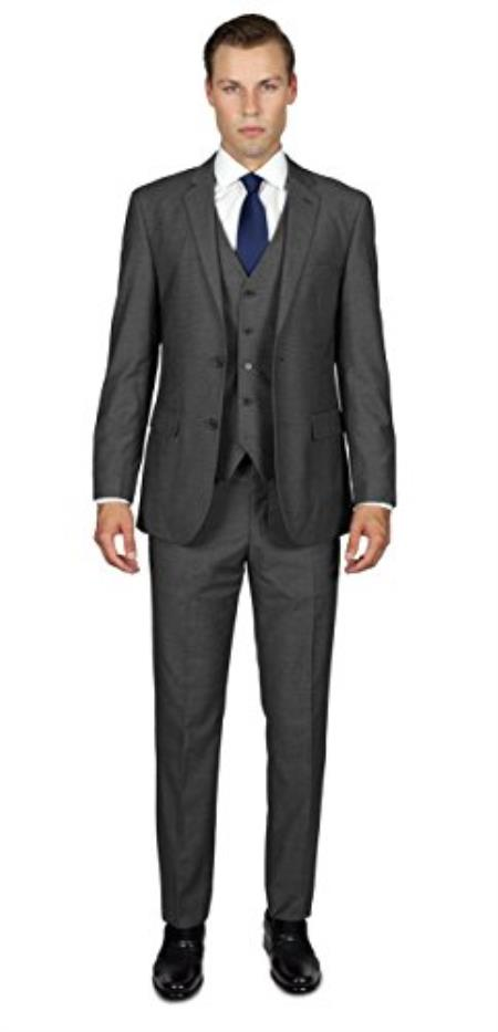 Men's Charcoal Grey  2 Button  Three Piece TR Blend Suit Affordable - Discounted Priced On Clearance Sale
