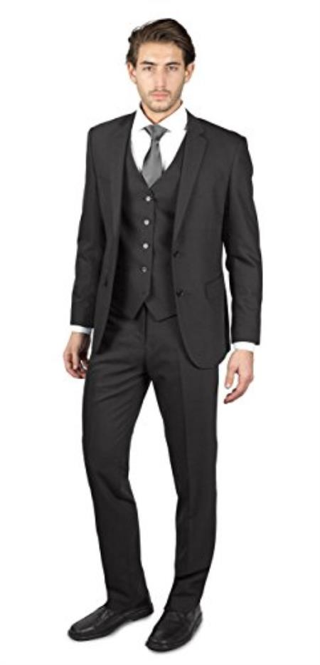 Mens Charcoal Grey 2 Button Three Piece TR Blend Suit