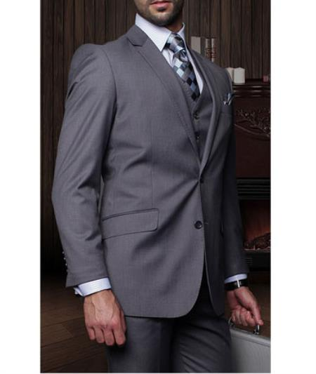 Statement Confidence Mens Charcoal Grey 3 Piece 2 Button Italian Designer Fine Brands Best Italian Style Cut Suits