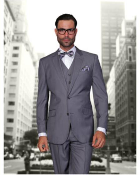 Statement Confidence Mens 2 Button Charcoal Grey Modern Fit Wool Fine Brands Best Italian Style Cut Suits - Color: Dark Grey Suit