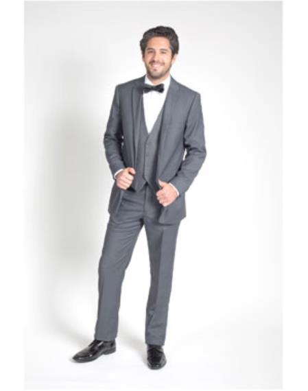Men's 2 Button Charcoal Grey  Groomsmen Suits ~ Groom Wedding Slim Fit Suit - Color: Dark Grey Suit