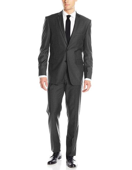 Mens Charcoal Grey 2 Button Single Breasted Classic & Slim Fit Blend Suits