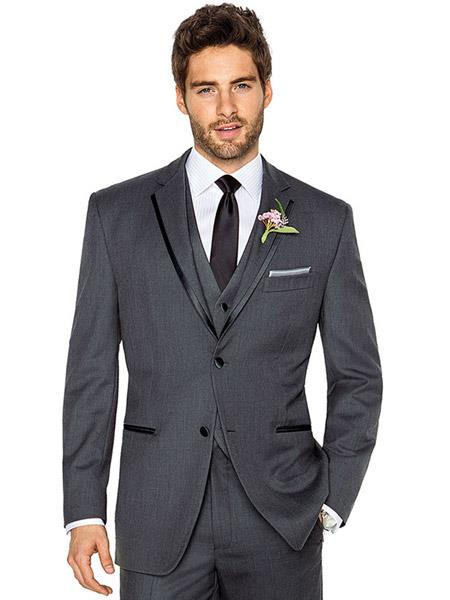 Mens 2 Buttons Charcoal Grey ~ Gray Tuxedo 2 Button Style With Trim Vested