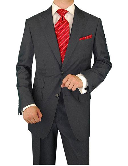 Men's  Two Button Charcoal Full Lining Ticket Pocket Suit  - Color: Dark Grey Suit