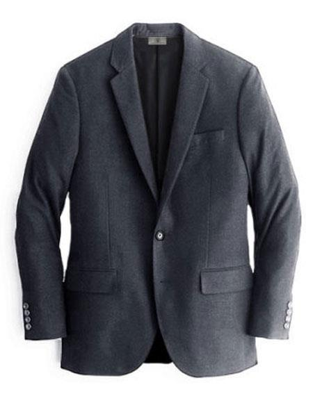 Men's Charcoal One Chest Pocket Cashmere & Wool Blazer