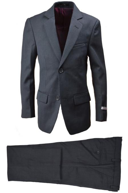 Husky Boys Wool Blend Suit Charcoal