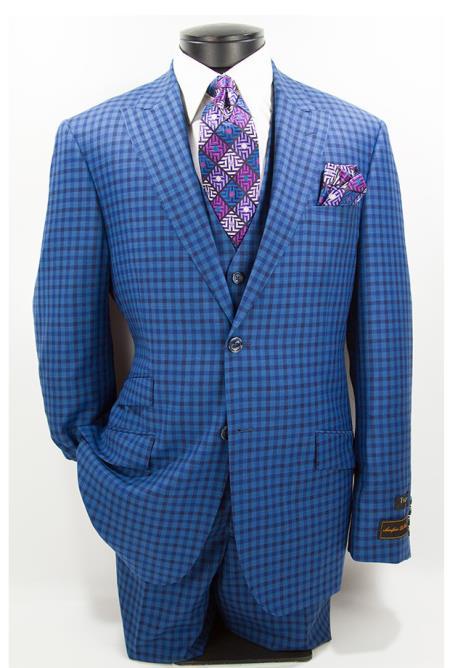 Buy SM4711 Men's Checked Pattern Blue Modern Fit 2 Button Peak Lapel Vested Suit