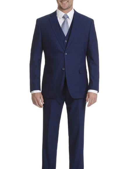 Brand: Caravelli Collezione Suit - Caravelli Suit - Caravelli italy Caravelli Men's Cobalt Blue Slim Fit 2 Button Double Vent Suit