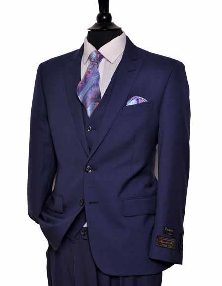 Buy SM2565 Tiglio Men's European Fit 2 Button Single Breasted Dark Blue Peak Lapel Vested Suit
