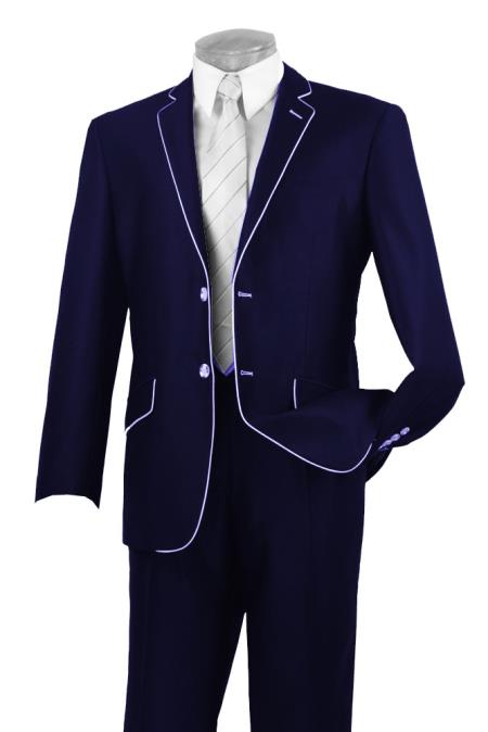 Buy AC-354 Mens Two Button Two Toned Suit White Lapeled Tuxedo Dark Blue 7 days delivery