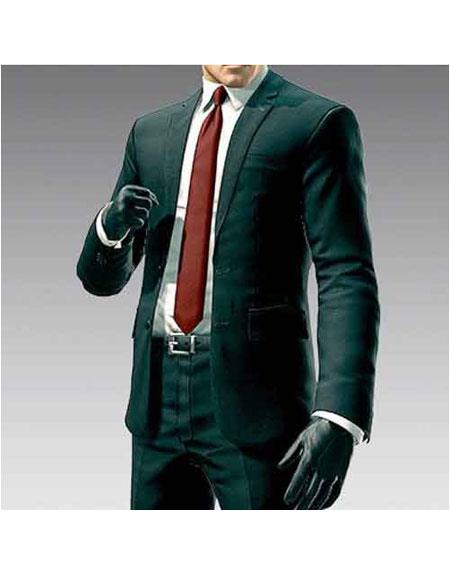 Mens Hitman Agent 47 Black 2 Button Notch Lapel Suit +Free Shirt And tie