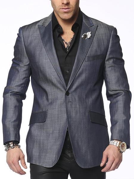 SM4870 Men's Denim Peak Lapel 2 Button Fully Lined Sports Jacket Santo Blue