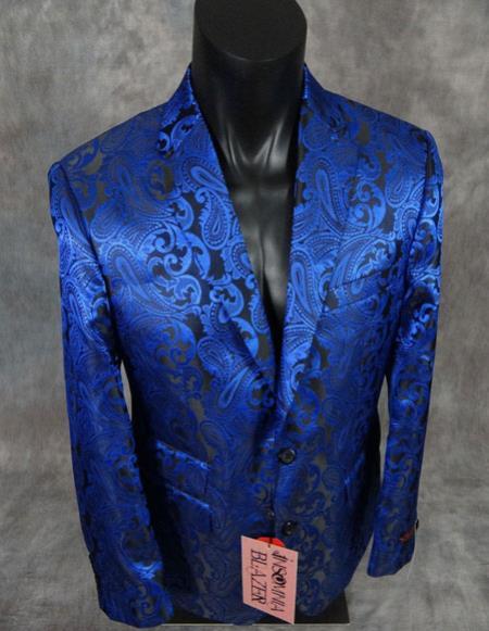 Men's floral paisley blue slim fit sport jacket Blazer