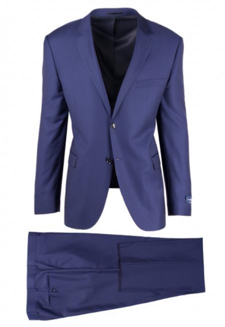 Buy SM4701 Men's 2 Button Slim Fit French Blue Notch lapel Fully Lined Sangria Suit