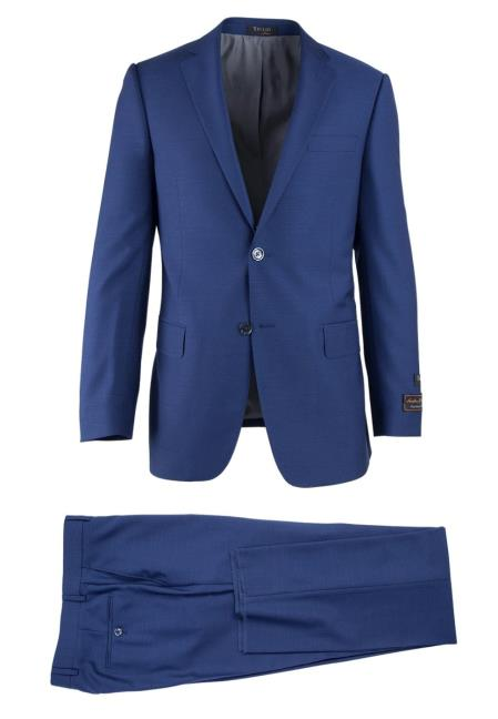 Buy SM4736 Men's French Blue Novello 2 Button Wool Modern Fit Luxe Suit
