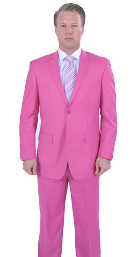 Colorful Fuchsia ~ Fuschia ~ Hot Pink Men's Cheap Priced Business Suits Clearance Sale Jacket & Pants