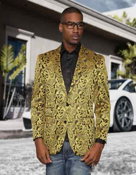 Alberto Nardoni Gold Floral Paisley Shiny Satin Stage Party Two Toned Blazer / Sport coat / Dinner Jacket