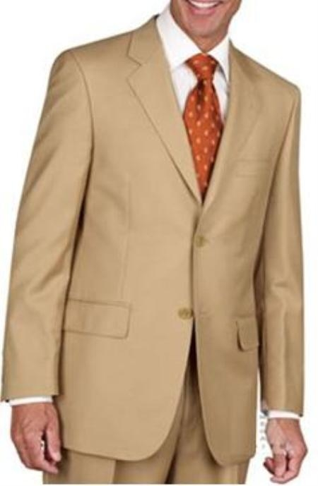 Mens Two Button Cheap Priced Business Suits Clearance Sale - Gold ~ Bronze ~ Camel ~ Birtish Khaki
