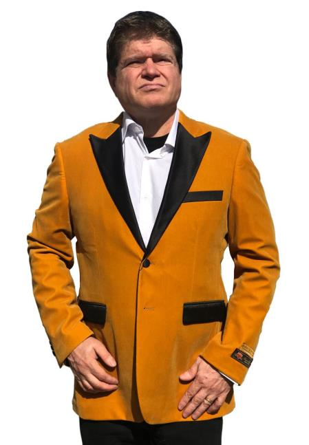 Men's Cheap Priced Gold Velvet ~ Velour Clearance Big And Tall Blazers Blazer / Sport Coat