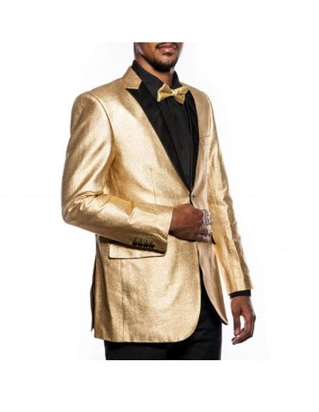 Mens 2 Button Tuxedo Gold Jacket Slim Fit Wedding Blazer