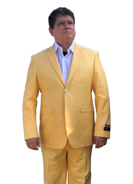 Linen Summer Fabric 2020 New Formal Style Yellow ~ Gold ~ Mustard Summer Fabric Side Vented Suit $165 (Buy 10PC And UP For $120)