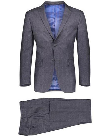 Mens Gray Slim Fit 2 Button Suit Blazer