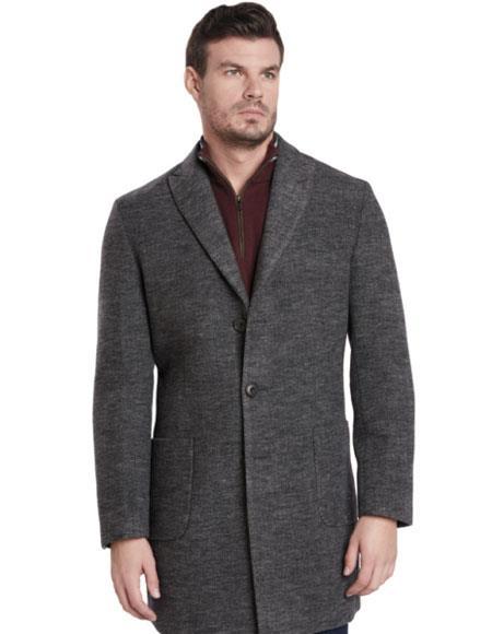 Mens Dress Coat 2 Button Gray Single Breasted Peak Lapel Car coat ~ Carcoat