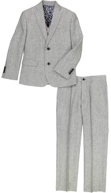 Boys 2 Button Notch Lapel 3 Pc Kids Sizes Gray LinenSuit Perfect For boys wedding outfits And Pant