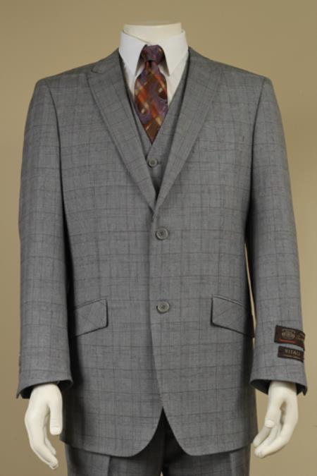 Men's 2 Button Window Pane Glen Plaid Patterned Vested 3PC Suit Light Gray