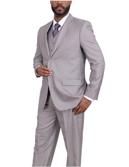 Men's Two Button Classic Fit Gray houndstooth checkered Three Piece Pleated Suit