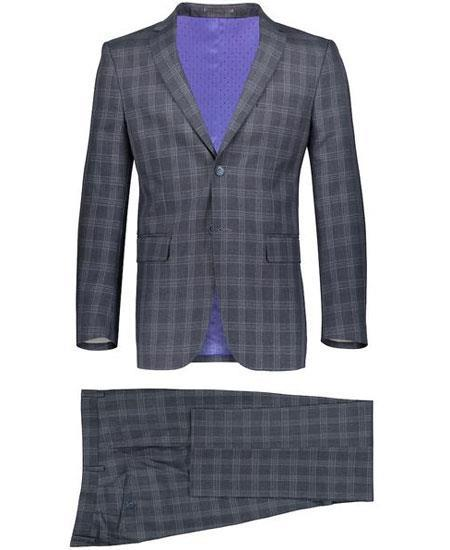 Mens Slim Fit 2 Button Gray Suit Window Pane ~ Plaid Suit ~ Blazer & Pants