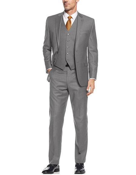 Gray 3 Pieces Suit  Side Vented Suit