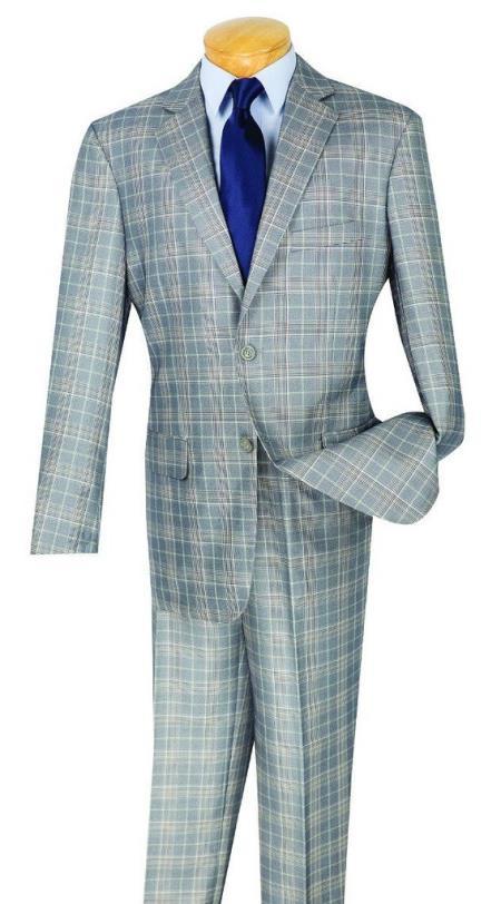 Men's Plaid Window Pane Glen Plaid Vested 3 Piece Gray Suit