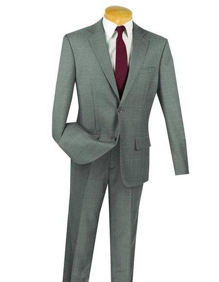 Gray 100% Wool 2 Button Window Pane ~ Plaid Slim Fit Suit Side Vented