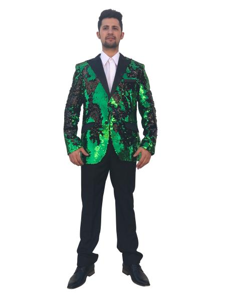 Mens Shiny 2 Button Green~Black Cheap Priced Designer Fashion Dress Casual Blazer For Men On Sale Blazer~Sport Coat Sequin Fashion Dinner Jacket Advanced Pre Order To Ship November / 15 / 2019