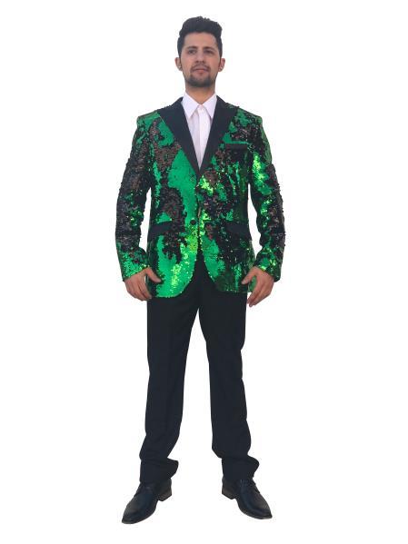 Men's Shiny 2 Button Green~Black Cheap Priced Designer Fashion Dress Casual Blazer For Men On Sale Blazer~Sport Coat Sequin Fashion Dinner Jacket Advanced Pre Order To Ship November / 15 / 2019