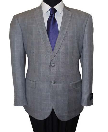Men's Wool 2 Button Windowpane Grey Slim Fit Sport Coat Blazer