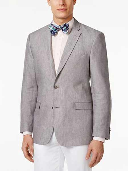Mens Linen 2 Button Sport Coat Classic Fit Grey Notch Lapel Blazer