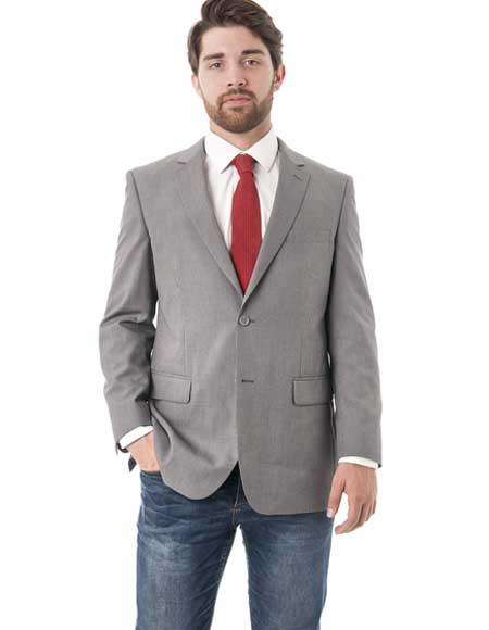Men's Grey 2 Button Texture Classic Fit Double Vent Blazer