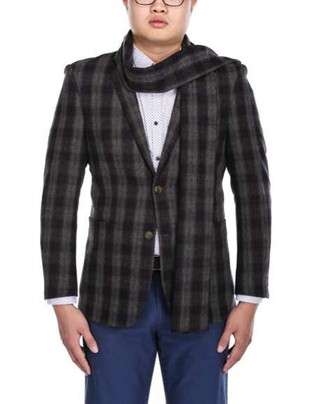 Buy SM3026 Men's Wool Blend 2 Button Grey Slim Fit Plaid Pattern Blazer Matching Scarf