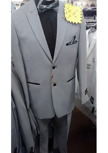 Mini checkered pattern 2 button 1 chest pocket besom front pocket grey suit mens