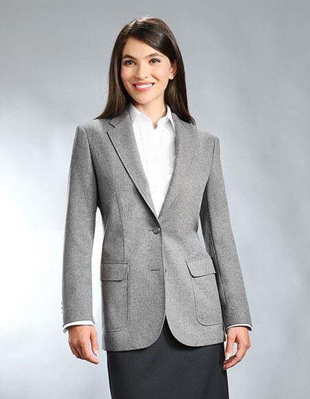 Women's Two Button 100% Polyester Single breasted Notch Lapel Blazer Grey