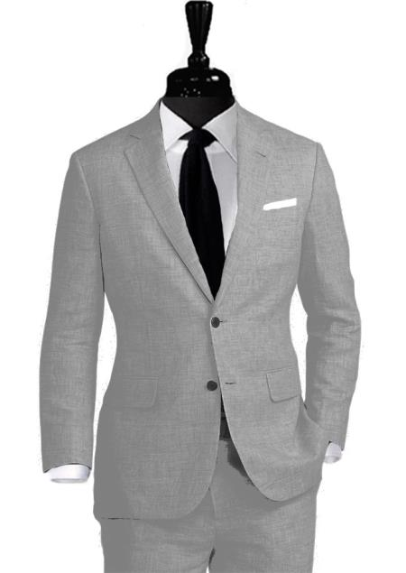 Alberto Nardoni Linen 2 Button Light Grey ~ Gray Vested 3 Pieces Summer Linen Wedding/Groom/Groomsmen Suit Jacket & Pants & Vest Suit