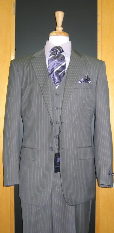 SKU#RT355 Two Button Three Piece Grey Pinstripe Flat Front three piece suit