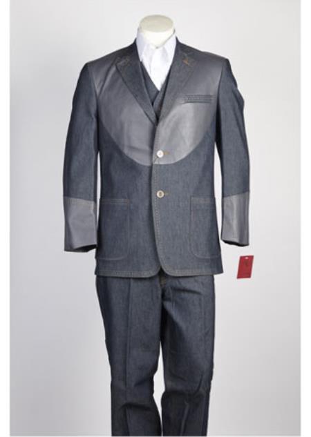 Men's 2 Button  Suit Grey