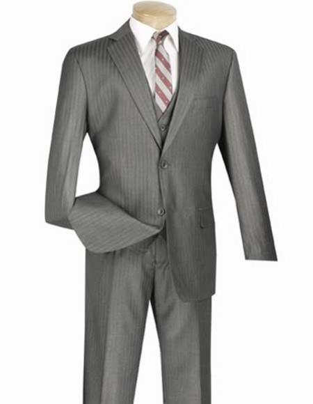 Mens Single Breasted Notch Lapel 2 Button With Vest And Pleated Slacks Suit