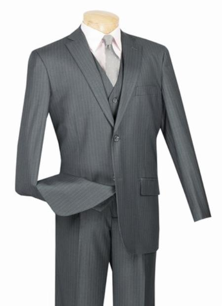 Men's Grey 2 Button with Vest and Classic Pinstripe Suit