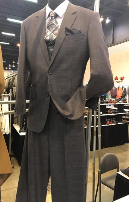 Grey Mens Vittorio St Angelo 2 Button Plaid Pattern Suit