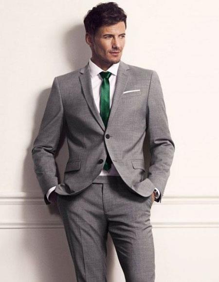 Mens grey suit green tie package deal 2 button notch lapel side vented  Slim Fit or Regular Fit Cut