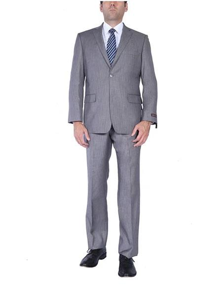 Men's Two-Piece  Classic Fit 2 Button Side Vents Grey Cheap Priced Business Suits Clearance Sale